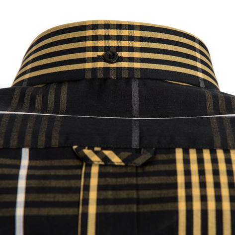 Tootal Short Sleeve Button Down Check Shirt Black and Gold Thumbnail 3
