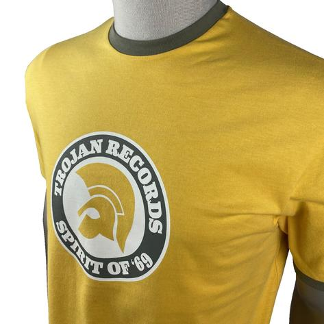 Trojan Records Spirit Of '69 Ringer T-Shirt Mustard Thumbnail 2