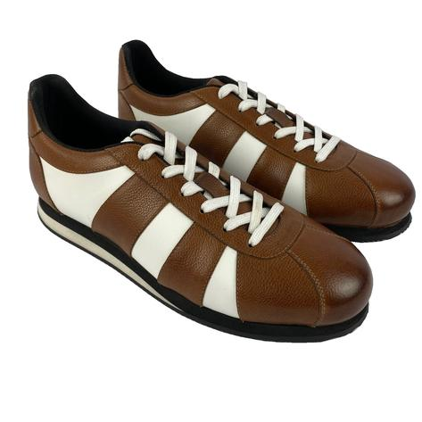 Delicious Junction Leather Chad Retro Trainer Tan Thumbnail 1