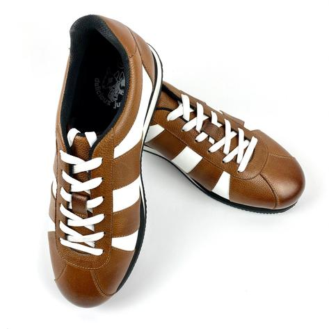 Delicious Junction Leather Chad Retro Trainer Tan Thumbnail 3