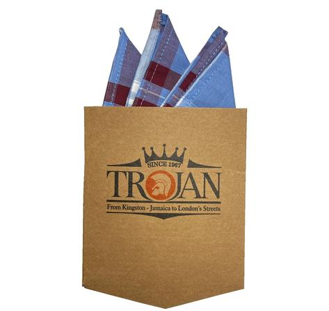 Trojan Records Jamaica Check Shirt With Pocket Square Sky Blue Thumbnail 5