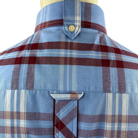 Trojan Records Jamaica Check Shirt With Pocket Square Sky Blue Thumbnail 4