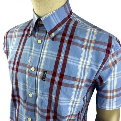 Trojan Records Jamaica Check Shirt With Pocket Square Sky Blue Thumbnail 2