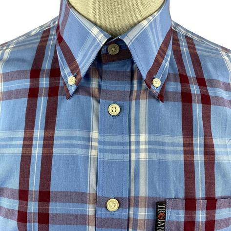 Trojan Records Jamaica Check Shirt With Pocket Square Sky Blue Thumbnail 3