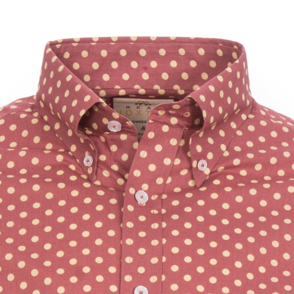 Real Hoxton Polka Dot Long Sleeve Shirt Light Maroon Tan