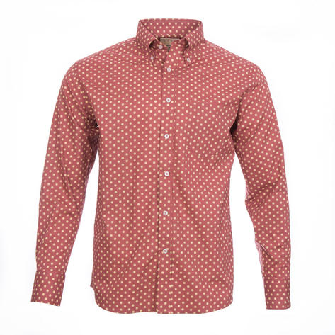 Real Hoxton Polka Dot Long Sleeve Shirt Light Maroon Tan Thumbnail 2