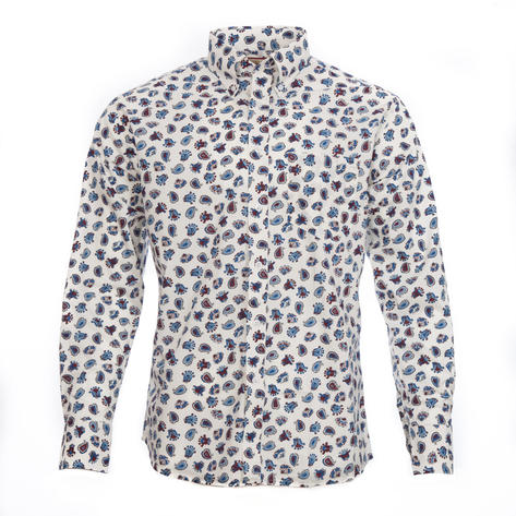 Real Hoxton Big Paisley Long Sleeve Shirt White Thumbnail 2