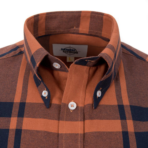 Adaptor Clothing Style Mikkel Twill Check Shirt Tan And Black Thumbnail 1