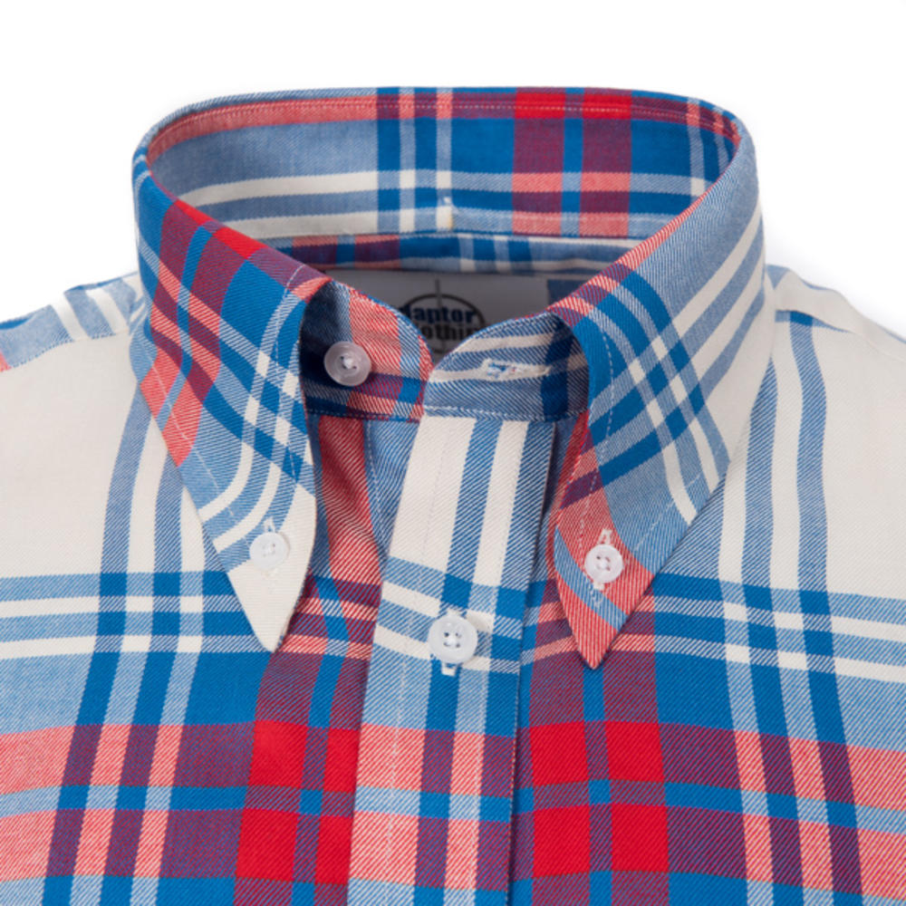 Adaptor Clothing Style Mikkel Twill Big Check Shirt Red White And Blue