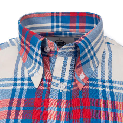 Adaptor Clothing Style Mikkel Twill Big Check Shirt Red White And Blue Thumbnail 1