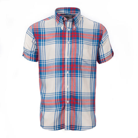 Adaptor Clothing Style Mikkel Twill Big Check Shirt Red White And Blue Thumbnail 2