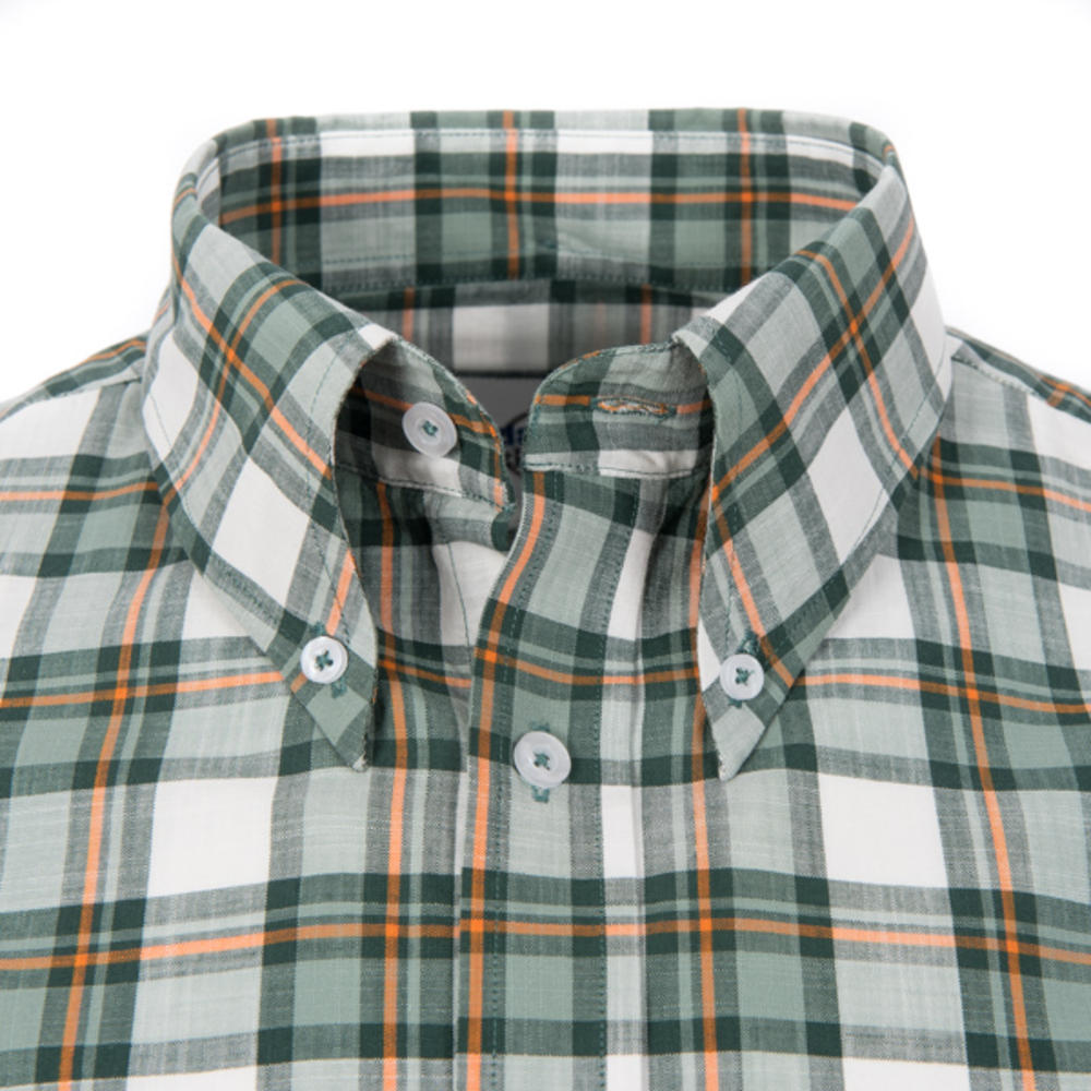 Adaptor Clothing Style Mikkel Slub Check Button Down Shirt White Green And Orang