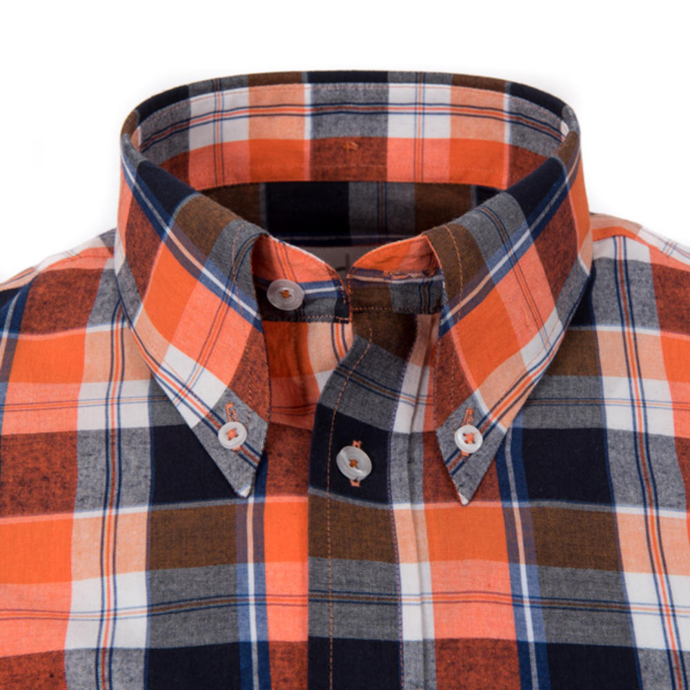 Adaptor Clothing Style Mikkel Check Button Down Shirt Orange And Black