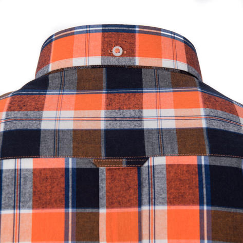 Adaptor Clothing Style Mikkel Check Button Down Shirt Orange And Black Thumbnail 3