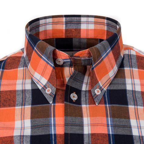 Adaptor Clothing Style Mikkel Check Button Down Shirt Orange And Black Thumbnail 1
