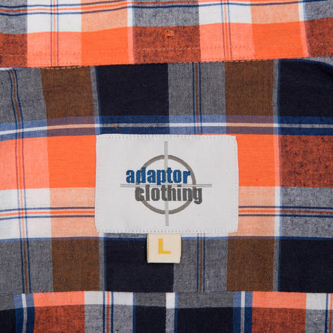 Adaptor Clothing Style Mikkel Check Button Down Shirt Orange And Black Thumbnail 5