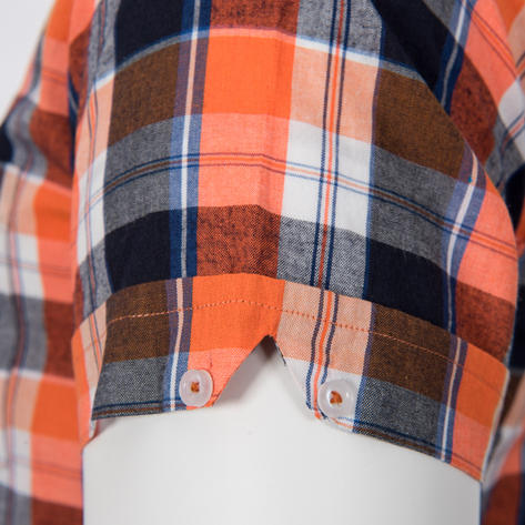 Adaptor Clothing Style Mikkel Check Button Down Shirt Orange And Black Thumbnail 4
