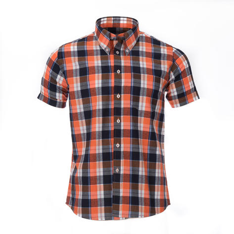 Adaptor Clothing Style Mikkel Check Button Down Shirt Orange And Black Thumbnail 2