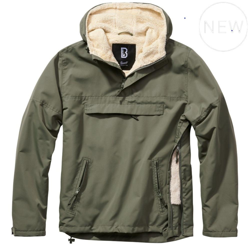 Brandit Windbreaker Borg Lined Hooded Cagoule Olive Green