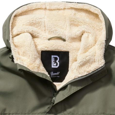 Brandit Windbreaker Borg Lined Hooded Cagoule Olive Green Thumbnail 2