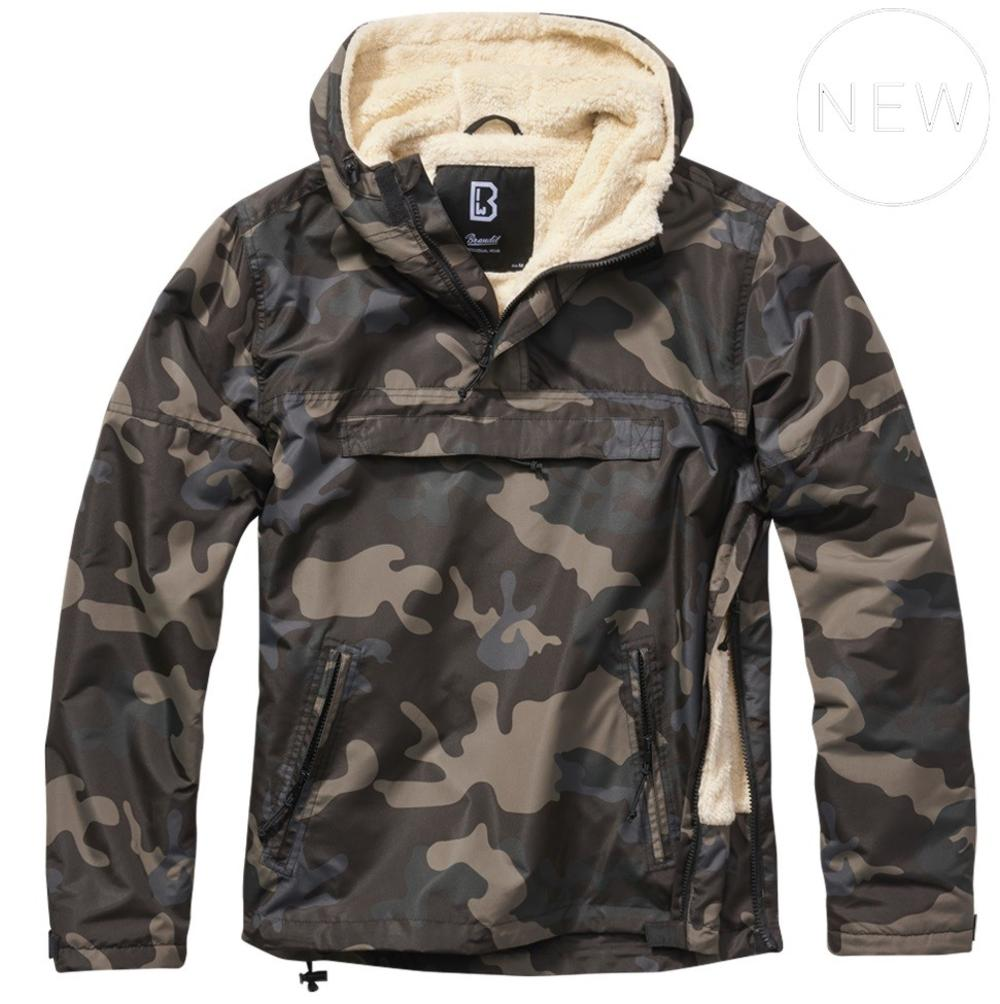 Brandit Windbreaker Borg Lined Hooded Cagoule Dark Camo