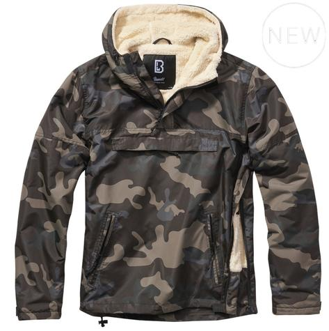 Brandit Windbreaker Borg Lined Hooded Cagoule Dark Camo Thumbnail 1