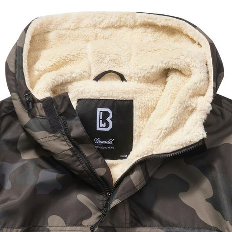 Brandit Windbreaker Borg Lined Hooded Cagoule Dark Camo Thumbnail 2