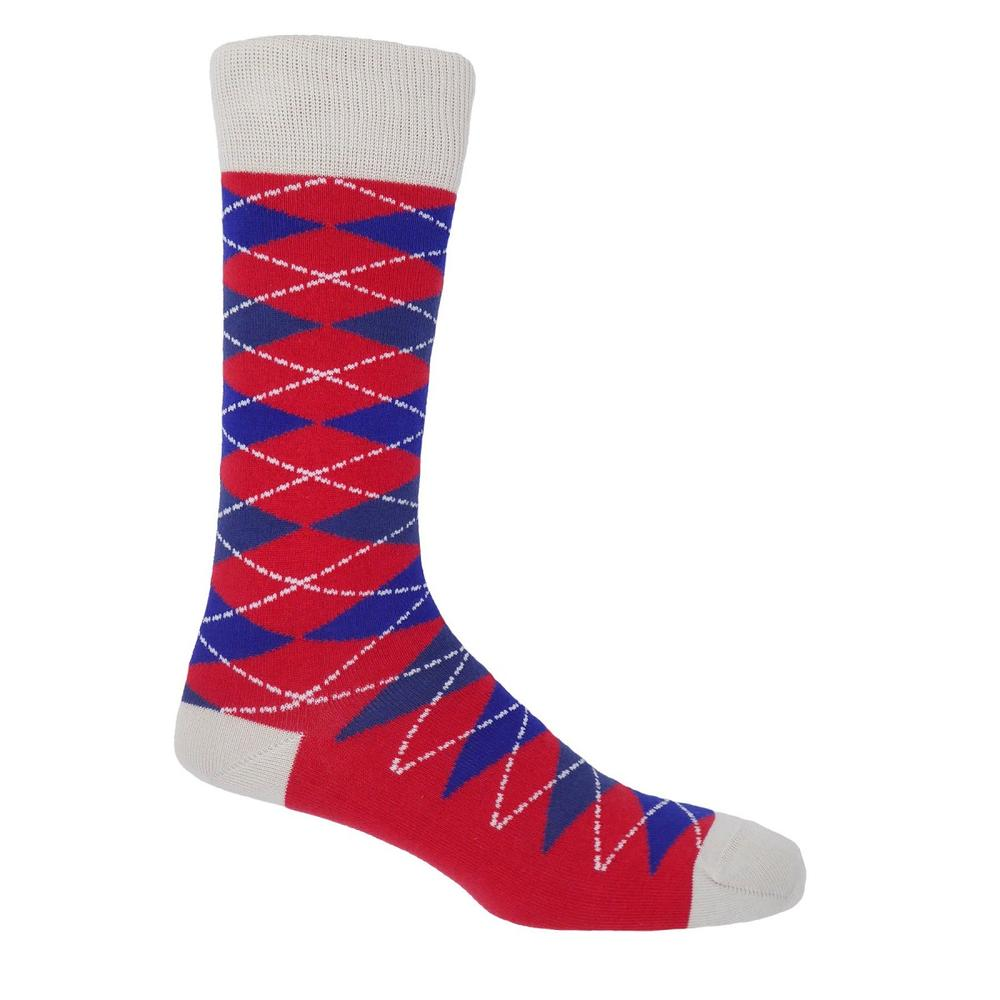 P H Cotton Mix Bright Argyle Socks Crimson
