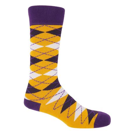 P H Cotton Mix Bright Argyle Socks Mustard Thumbnail 1