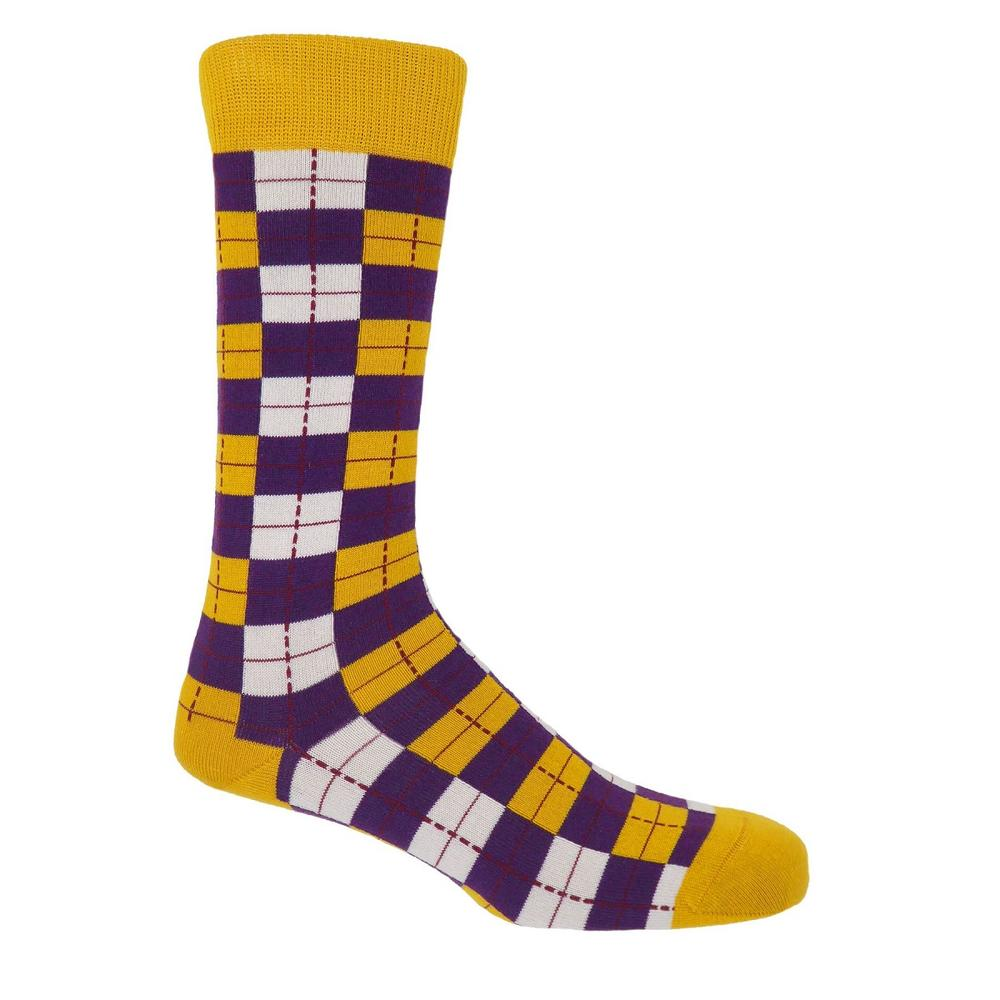 P H Cotton Mix Checkmate Socks Gold