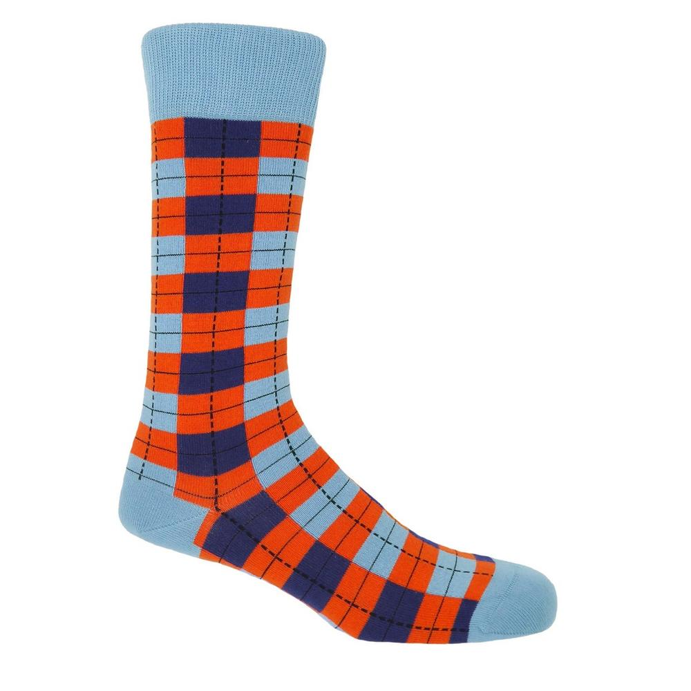 P H Cotton Mix Checkmate Socks Sky