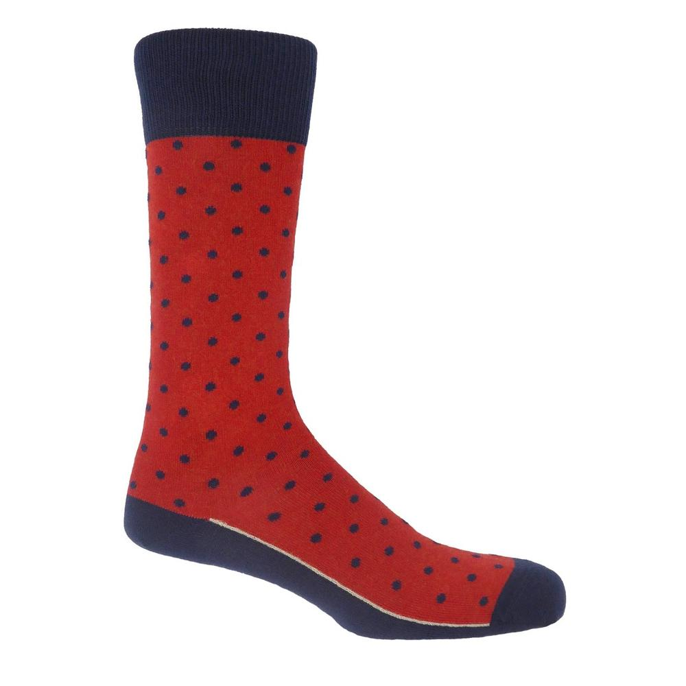 P H Cotton Mix Polka Dot Socks Apple Red