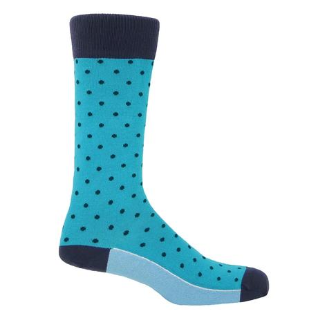 P H Cotton Mix Polka Dot Socks Azure Blue Thumbnail 1