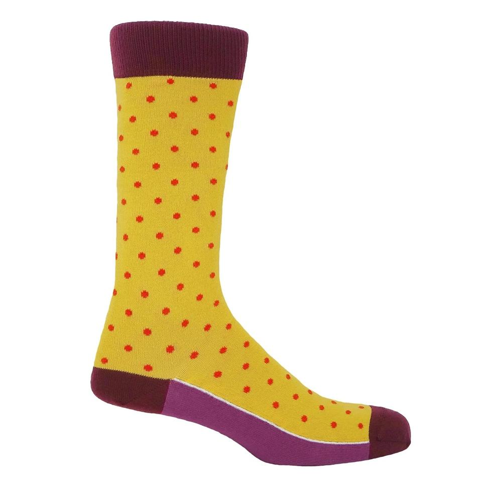 P H Cotton Mix Polka Dot Socks Honey Yellow