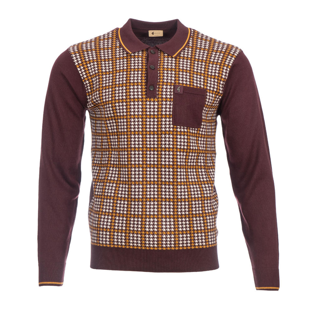 Gabicci Vintage Dogtooth Check Knit Polo Shirt Oxblood