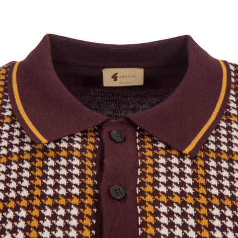 Gabicci Vintage Dogtooth Check Knit Polo Shirt Oxblood Thumbnail 2