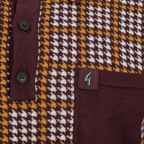 Gabicci Vintage Dogtooth Check Knit Polo Shirt Oxblood Thumbnail 3