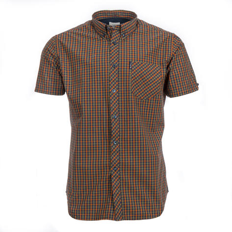 Ben Sherman Short Sleeve House Check Shirt Burnt Orange Olive Thumbnail 1