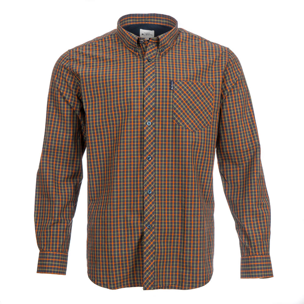 Ben Sherman Long Sleeve House Check Shirt Burnt Orange Olive