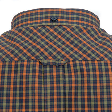 Ben Sherman Long Sleeve House Check Shirt Burnt Orange Olive Thumbnail 3