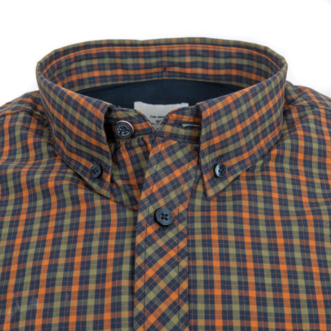 Ben Sherman Long Sleeve House Check Shirt Burnt Orange Olive Thumbnail 2