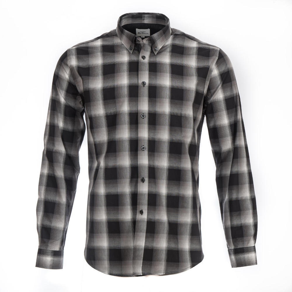 Ben Sherman Long Sleeve Big Check Shirt Black And White