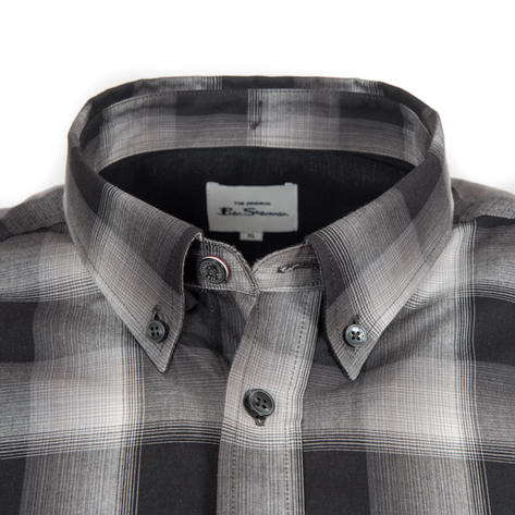 Ben Sherman Long Sleeve Big Check Shirt Black And White Thumbnail 2