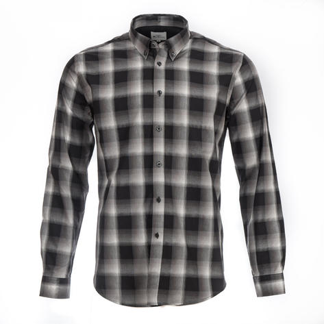 Ben Sherman Long Sleeve Big Check Shirt Black And White Thumbnail 1