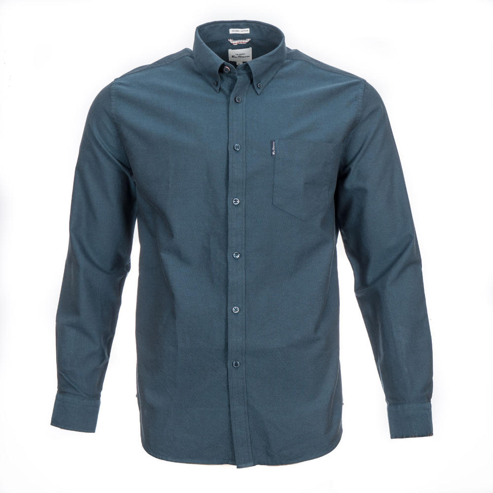 Ben Sherman Long Sleeve Organic Cotton Oxford Shirt Petrol Blue