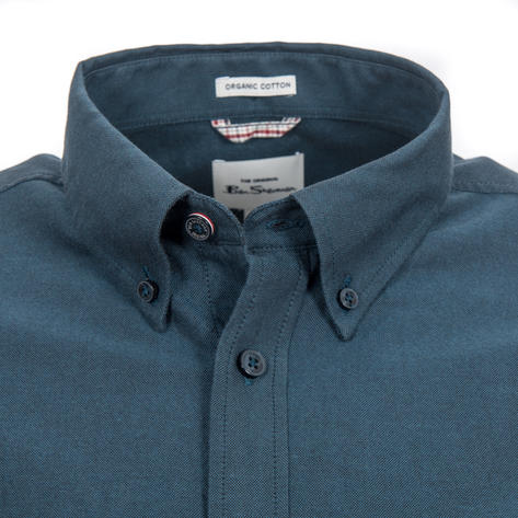 Ben Sherman Long Sleeve Organic Cotton Oxford Shirt Petrol Blue Thumbnail 2