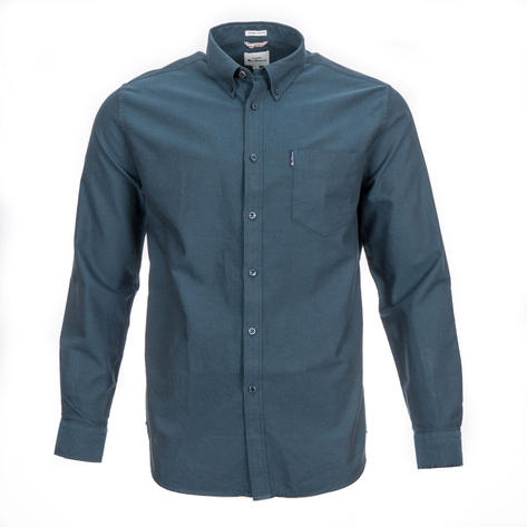 Ben Sherman Long Sleeve Organic Cotton Oxford Shirt Petrol Blue Thumbnail 1