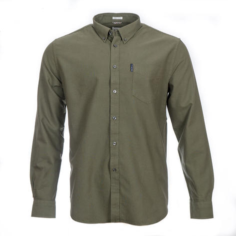 Ben Sherman Long Sleeve Organic Cotton Oxford Shirt Olive Green