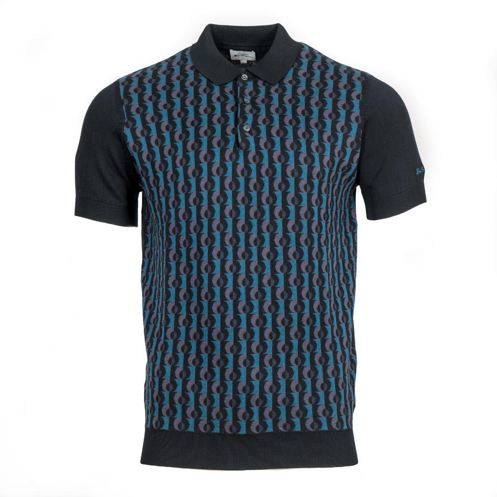 Ben Sherman Short Sleeve Retro Jacquard Knit Polo Black