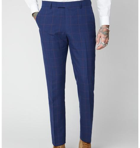 Gibson London Navy and Burgundy Windowpane Check Trousers Thumbnail 2